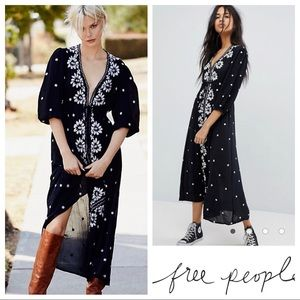 SALE $168 Free People Embroidered Fable Midi/Maxi